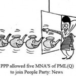 PPP allowed five MNA of PML-Q to join People Party