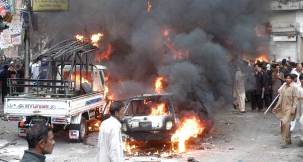 bomb blast in karachi Karachi: three people were killed and 15 others, including five rangers personnel, were injured in a huge explosion that shook abbas town when a majlis was being held at an imambargah nearbythe.